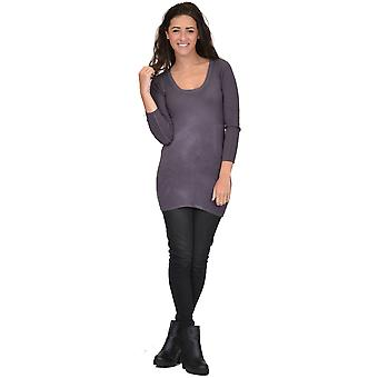 Stretch Knit Fitted Tunic Jumper - One Size UK 6-10 - Noir & Gris