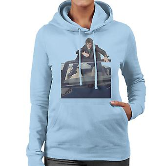 Knight Rider Michael Knight Sitting In KITT Women's Hooded Sweatshirt