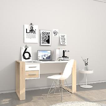 Farley White Desk, Melamine Spaanplaat Sonoma, L124xP60xA75 cm