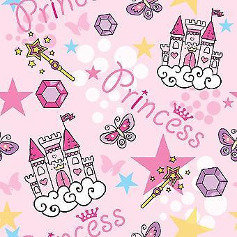 Tapete Impresso Multicolorido Princesa Rosa em Poliéster, Algodão, L120xP180 cm