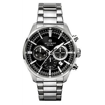 Accurist 7194 Black And Silver Chronograph Mens Watch
