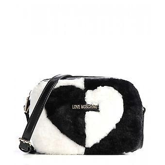Nainen Laukku Love Moschino Olkahihna Eco-fur Musta/Valkoinen B21mo115