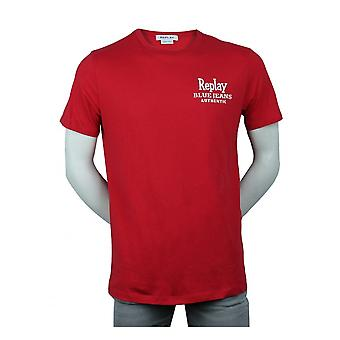 Replay Jeans Replay Authentic Blue Jeans T-shirt Red