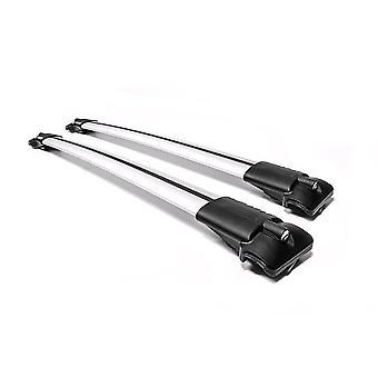 Aguri Prestige Silver Aluminium Aerodynamic Roof Rack Railing Bars (Attacher aux rails de toit surélevés)