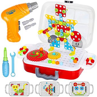 Dreamon Construction Building Toys, Mosaic Puzzle Boards with Electric Screwdriver Creative Pegboard