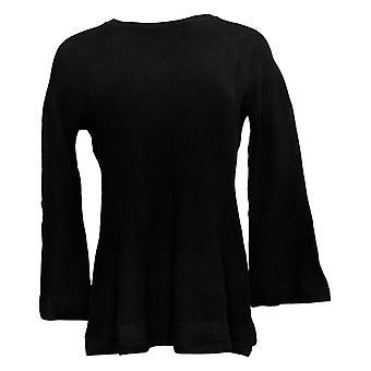 Isaac Mizrahi En direct! Women's Top Crew Neck W/ Bell Sleeves Noir A311368