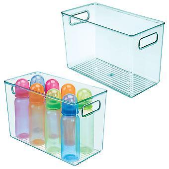 "mDesign Plastic Storage Organizer Bin for Kids Supplies, 12"" L, 2 Pack, Sea Blue"