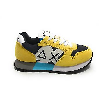 Shoes Baby Sun68 Sneaker Boy's Jaki Suede Yellow/ Nylon Blue Navy Zs21su18 Z31313