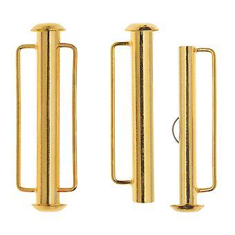 Chiusure tubo scorrevole, con anelli a barre 31,5x10,5 mm, 2 set, placcati in oro 22K