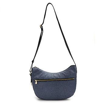 Hobo Bag Borbonese Luna Small Blu In Nylon Riciclato Op