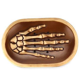 Ny kraniet hånd sæbe boks, harpiks skulptur kunst, kreative hjem køkken afløb sæbeholder (sort)