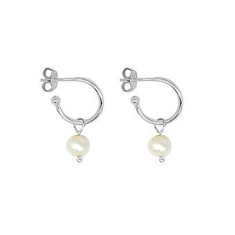 Boho betty sanchez silver & pearl hoop earrings