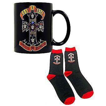 Guns N Roses Mug and Socks Gift Set Appetite Cross Band Logo new Official