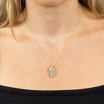 Elementen Goud Womens 9ct Geelgouden Diamond Swirl Teardrop Hanger Ketting Lengte 41-46cm 0.10ct Diamond Gewicht