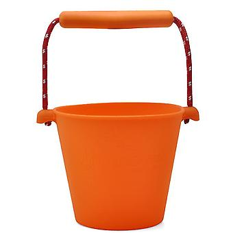Portable Silicone Beach Sand Buckets Toy For Kids Camping Fishing Storage(Orange)