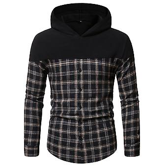 Men's Plaid Hooded Long Sleeve Button Casual Shirt