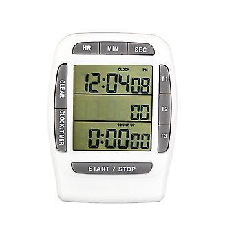 Magneet laboratorium tijd timer 3-kanaals LCD digitale elektrische klok (grijs)