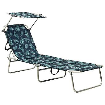 vidaXL folding couch with sun protection leaf pattern aluminum