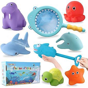 Badespielzeug Baby, 8 Stück Badespielzeug Set, Wasserspielzeug, Badespielzeug mit Fischernetz,