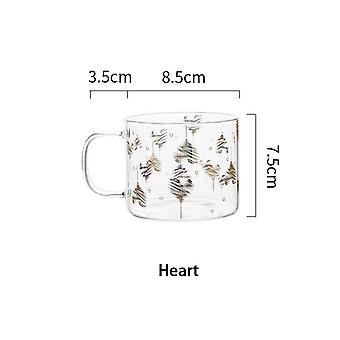 400ml Star Heart Letter Portrait Glass Mug Coffee Cup With Handle Couple Cups(Love Form)