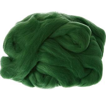 100% Ren ny ull för nålfiltning, 50g - Mörkgrön