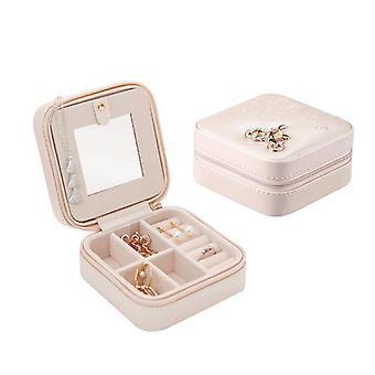 مجوهرات تخزين مربع مصغرة المحمولة الأقراط الجلدية قلادة مربع خاتم