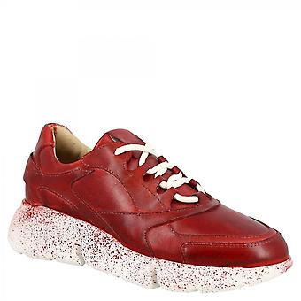 ليوناردو أحذية المرأة اليدوية أحذية رياضية Charlot في جلد العجل الأحمر