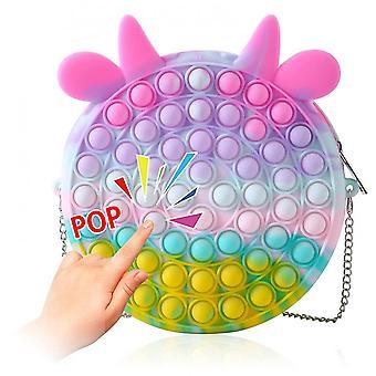 Pop it olkalaukku söpö crossbody laukku työntää pop kupla yksinkertainen kuoppaan aistinvaraisia leluja kolikko kukkaro vetoketjulla hihna naisille tytöt lapsille