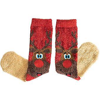 Christmas Socks with Reindeer Design (3 Pairs) Soft and Fluffy Festive Socks for Men and Women   Secret Santa Gift   Stocking Filler
