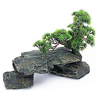 Penn Plax Bonsai Träd på Stenar Akvarium Prydnad - 13 x 6 x 9