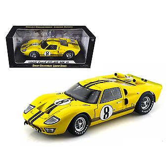 1966 Ford GT-40 MK 2 Yellow #8 1/18 Diecast Car Model by Shelby Collectibles