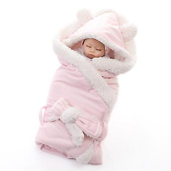Homemiyn Pure Kleur Lamswol Baby Quilt Warm Comfortabel Ademend Zachte Deken (80cm)(Roze)