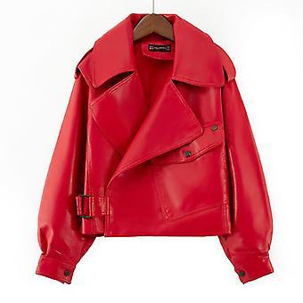 Mimigo Veste en faux cuir pour femmes Red Moto Biker Loose Fit Vestes manteau court Noir Beige