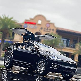 1:24 子供のためのテスラモデルX合金車モデルは、キャストカーのおもちゃキッズクリスマスプレゼント(黒)