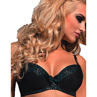 Roza Ilaris Black and Turquoise Push Up Bra with Removable Straps