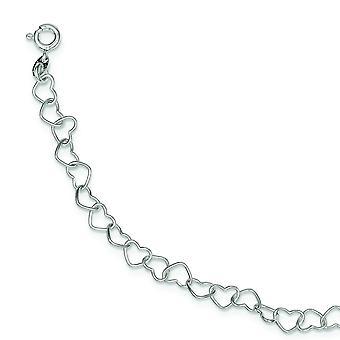 925 Sterling Silver Polished Fancy Love Heart Link Bracelet - Length: 6 to 8