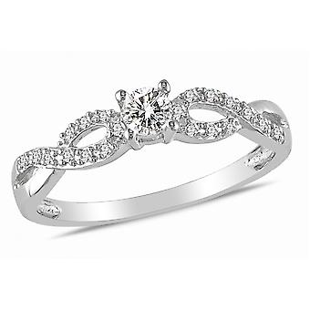 Affici Sterling Silver Semi Eternity Ring 18ct White Gold Plated ~ Kisses of Diamond CZ Gems