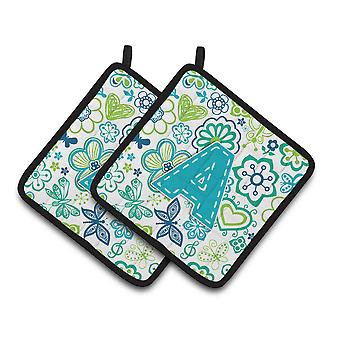 Letter Flowers and Butterflies Teal Blue Pair of Pot Holders CJ2006