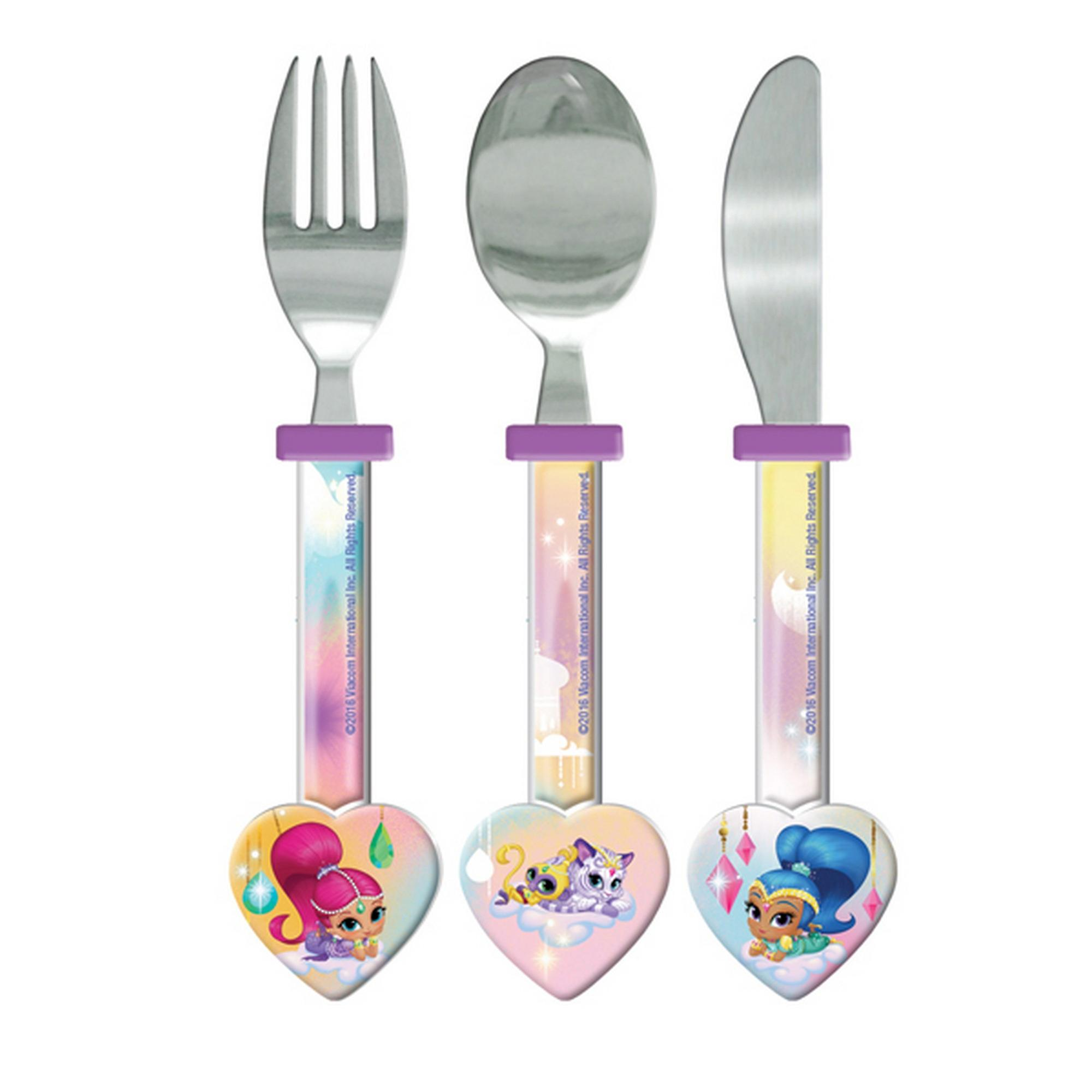Shimmer And Shine Childrens Girls Official 3 Piece Cutlery