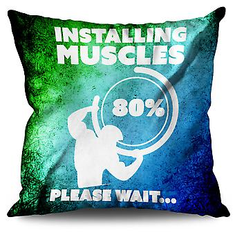 Muscle Gym Fitness Sport Linen Cushion 30cm x 30cm | Wellcoda