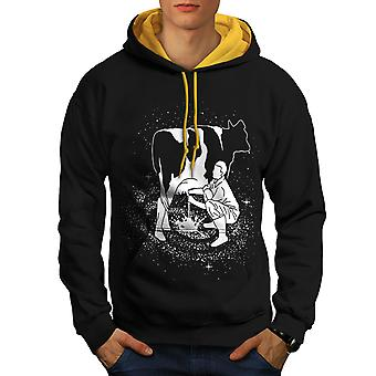 Space Cow Milk Fantasy Men Black (Gold Hood)Contrast Hoodie | Wellcoda