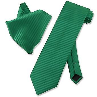 Vesuvio Napoli Striped NeckTie Handkerchief Matching Neck Tie Set