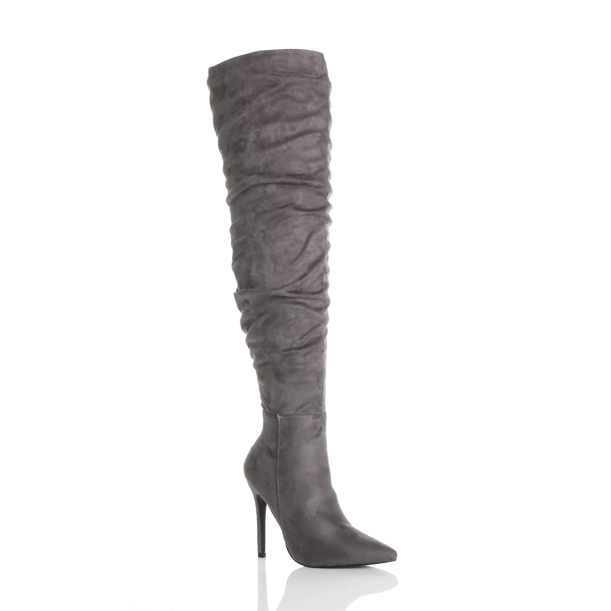 Ajvani womens high heel ruched slouch over the knee pointed thigh boots mSHLH