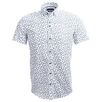 Guia Londres Oxford árvore Tropical impressão manga curta Mens a camisa de algodão
