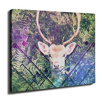 Christmas Deer Wall Art Canvas 40cm x 30cm | Wellcoda