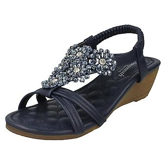 Ladies Savannah Mid Wedge Strappy Sandals F10792 - Navy Synthetic - UK Size 5 - EU Size 38 - US Size 7