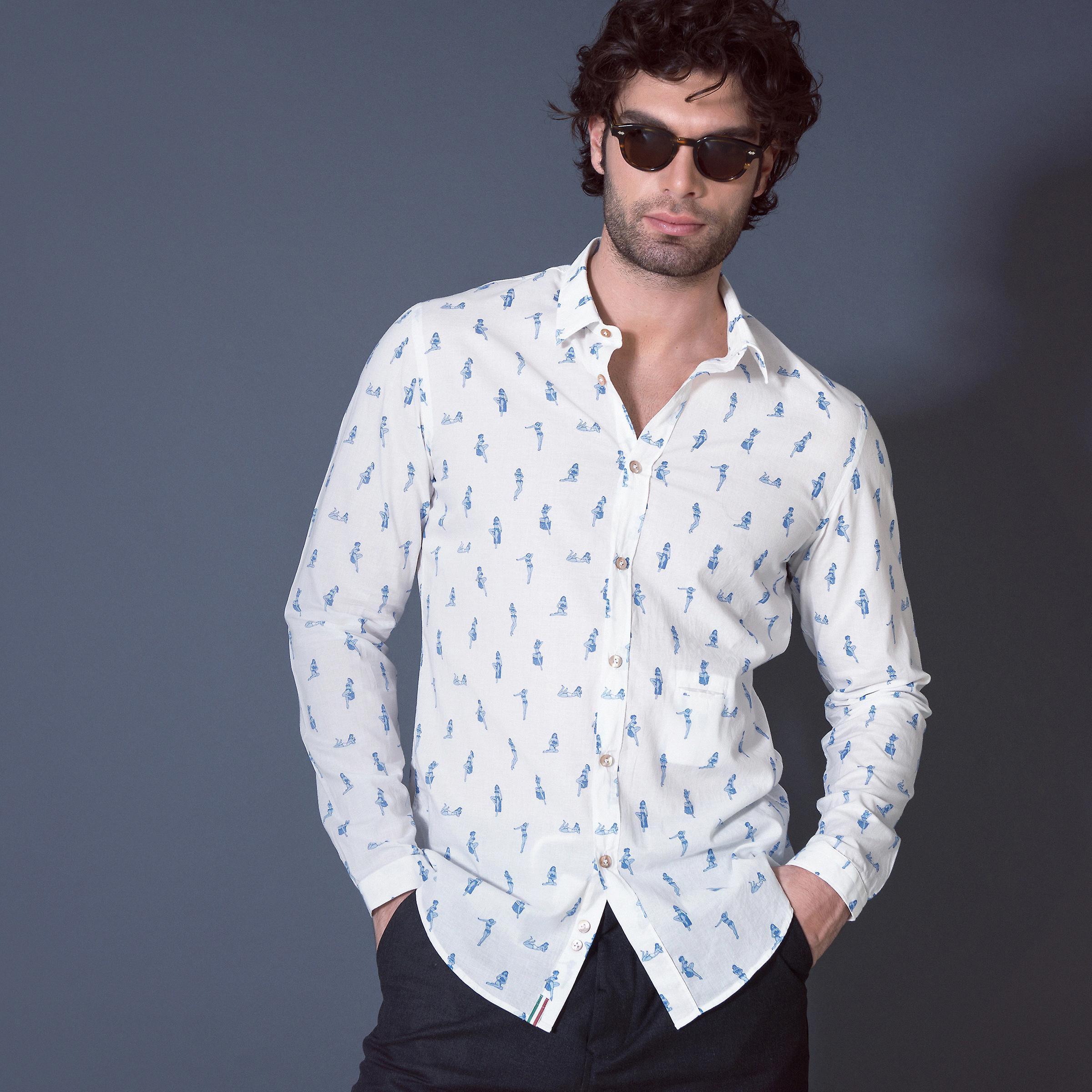 Fabio Giovanni Sapri Shirt - Cheeky Pin-up Print - High Quality Italian Casual Shirt