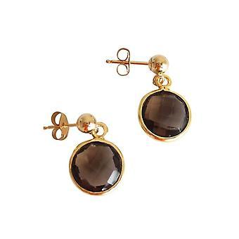 Gemshine - Femmes '- Boucles d'oreilles - 925 Argent - Or plaqué - Quartz fumé - Brown