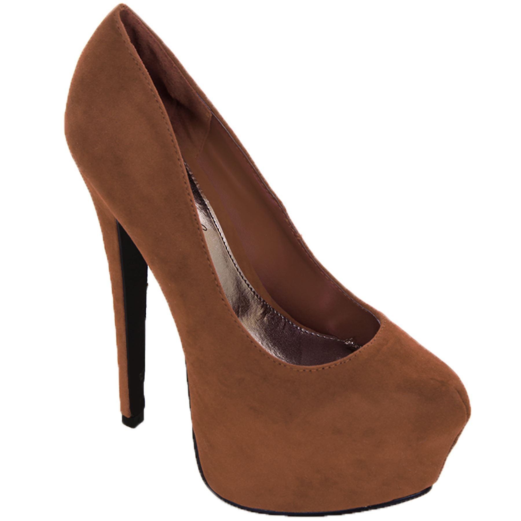 Ladies High Heel Suede Patent Shoes Women's Platform Slip On Party Heels