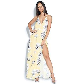 خدمة طباعة الأزهار شق فستان ماكسي هالتيرنيك